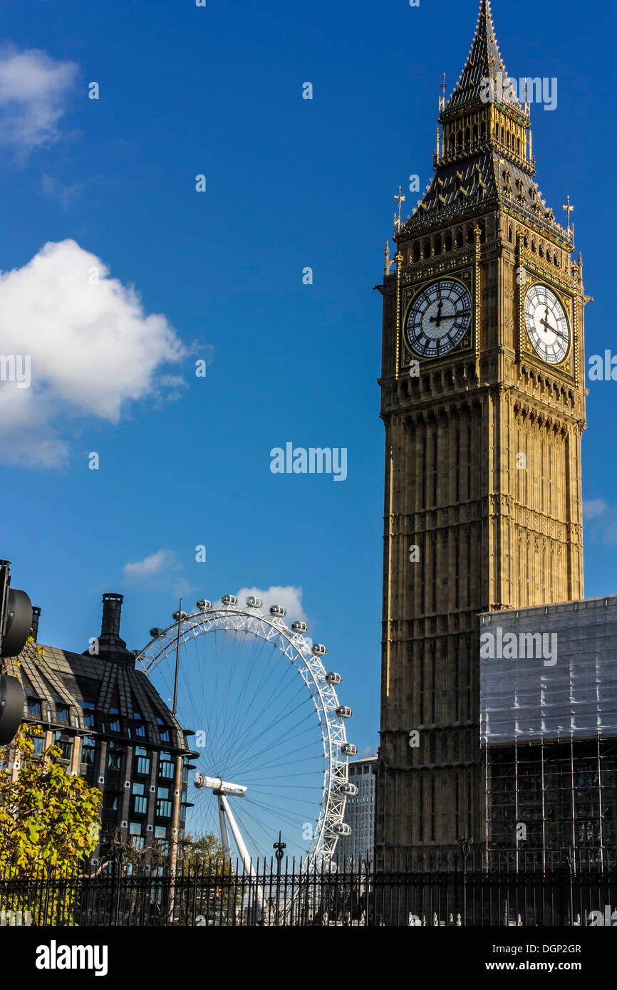 Clock Tower, Big Ben, Palace of Westminster, Unesco World Heritage Site, behind the London Eye, London, England, United Kingdom - Stock Image