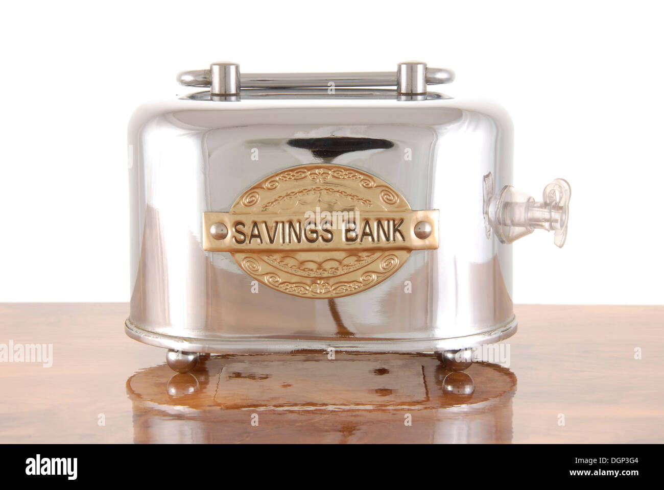 Savings box with valve, symbolic image for inflated banks - Stock Image