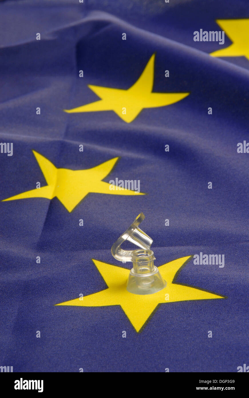Flag of Europe with an open valve, symbolic image of Europe running out of steam, Greek debt crisis - Stock Image
