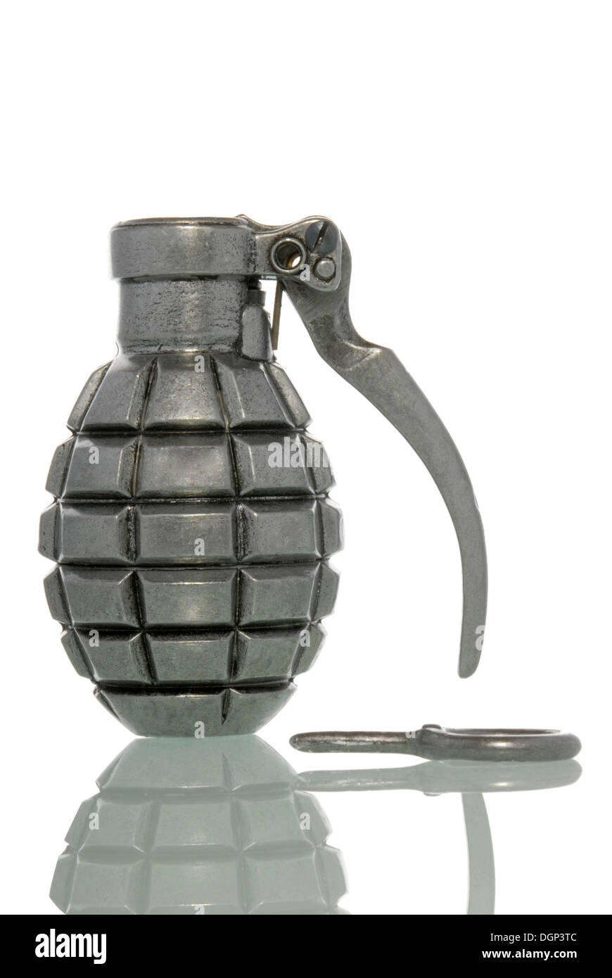 Pin removed from a hand grenade, activated - Stock Image