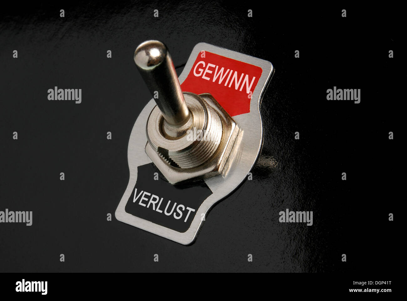 Toggle switch, labelled Gewinn and Verlust, German for win and loss, symbolic image - Stock Image