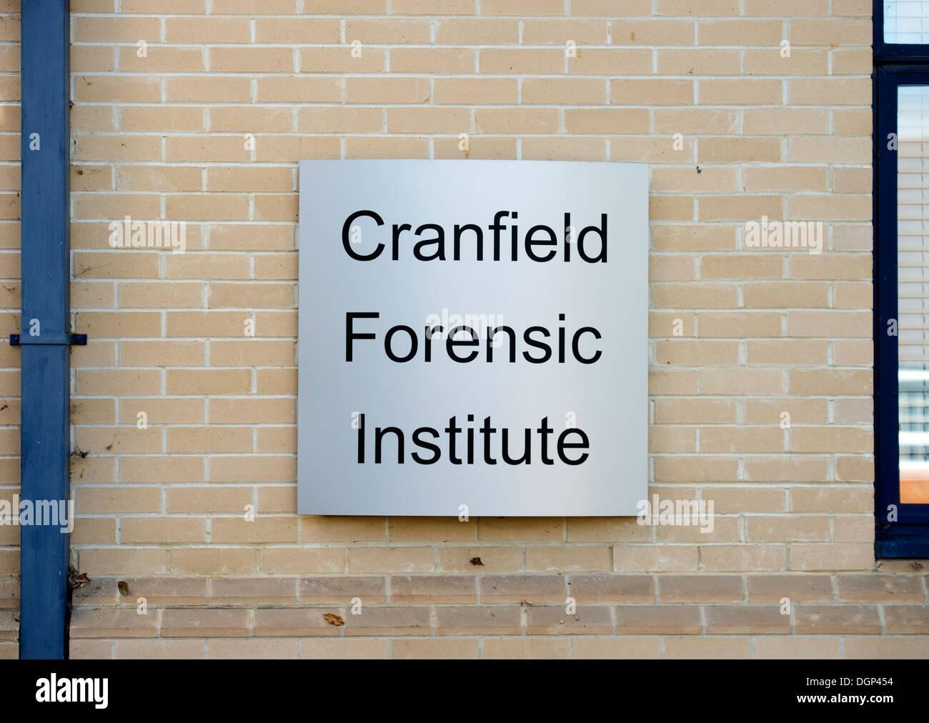 Sign at the Forensic Institute of Cranfield University, Shrivenham near Swindon UK - Stock Image