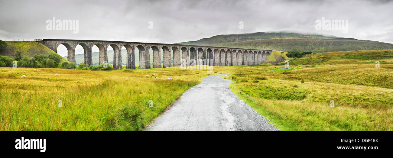 Ribblehead Viaduct near Ingleton in the Yorkshire Dales, North Yorkshire, England, United Kingdom, Europe - Stock Image