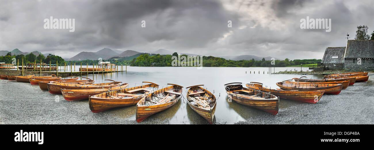 Rowing boats on Derwent Water near Keswick, Cumbria, England, United Kingdom, Europe - Stock Image