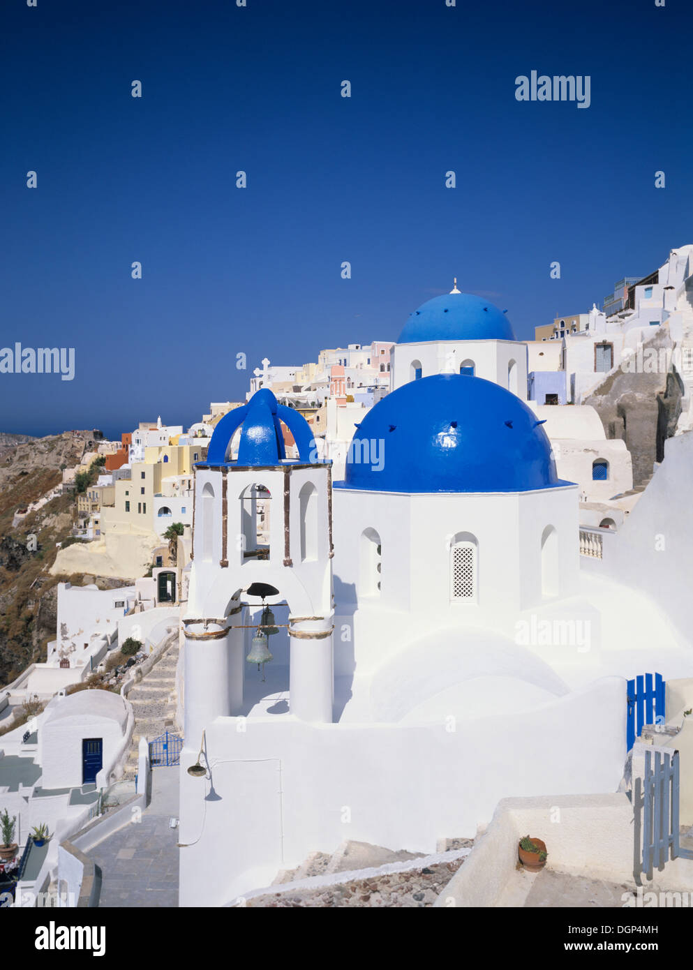 Church with blue cupolas, Oia, Santorini, Cyclades, Greece, Europe - Stock Image