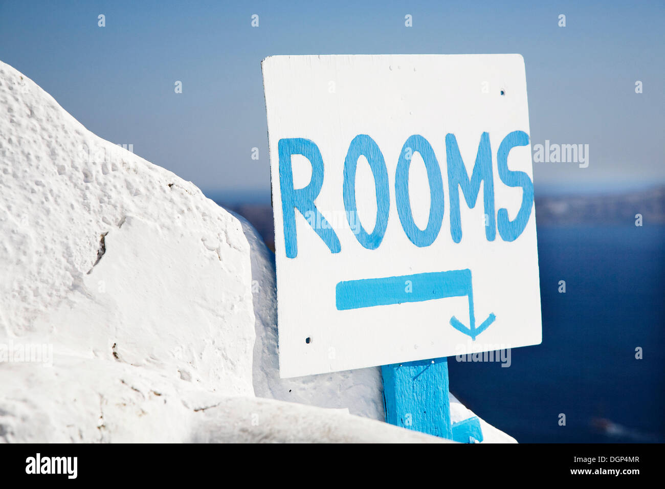 Sign, Rooms, Fira, Santorini, Cyclades, Greece, Europe - Stock Image