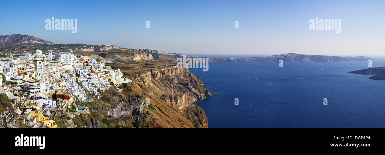 Fira on the cliff line of the Caldera, Santorini, Cyclades, Greece, Europe - Stock Image