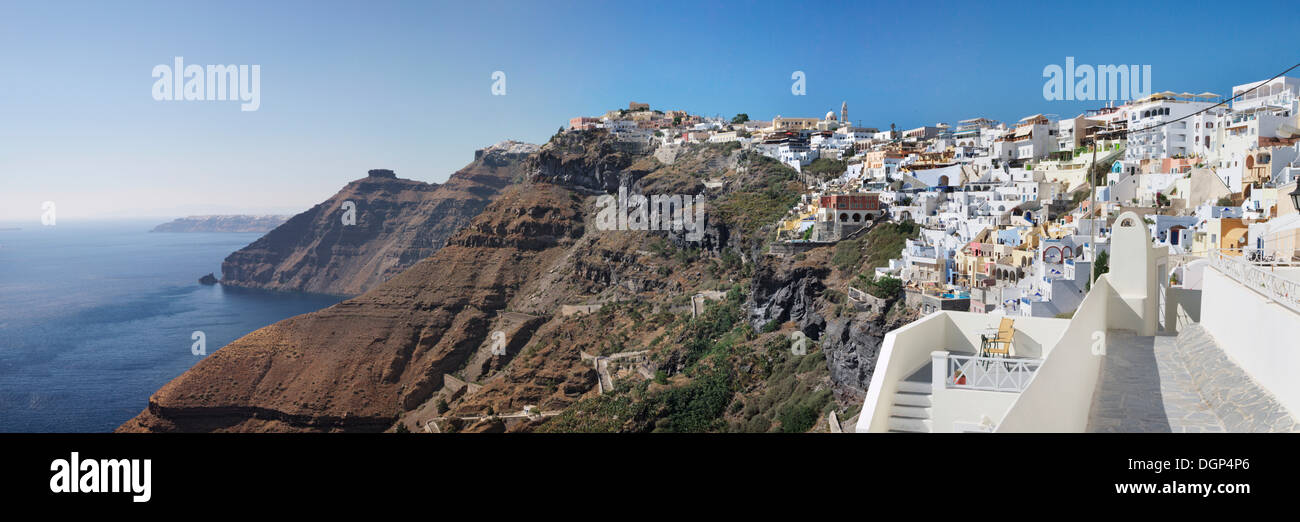 Fira on the cliff line of Santorini, Cyclades, Greece, Europe - Stock Image