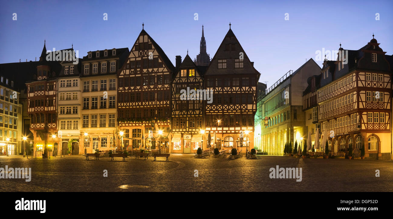 Half-timbered building ensemble on Roemerberg Square in front of the cathedral, Frankfurt, Hesse - Stock Image