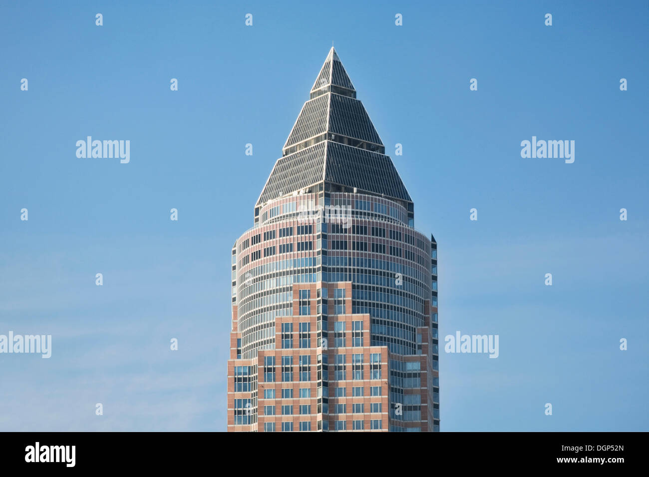 Top of the Messeturm building, Frankfurt, Hesse Stock Photo