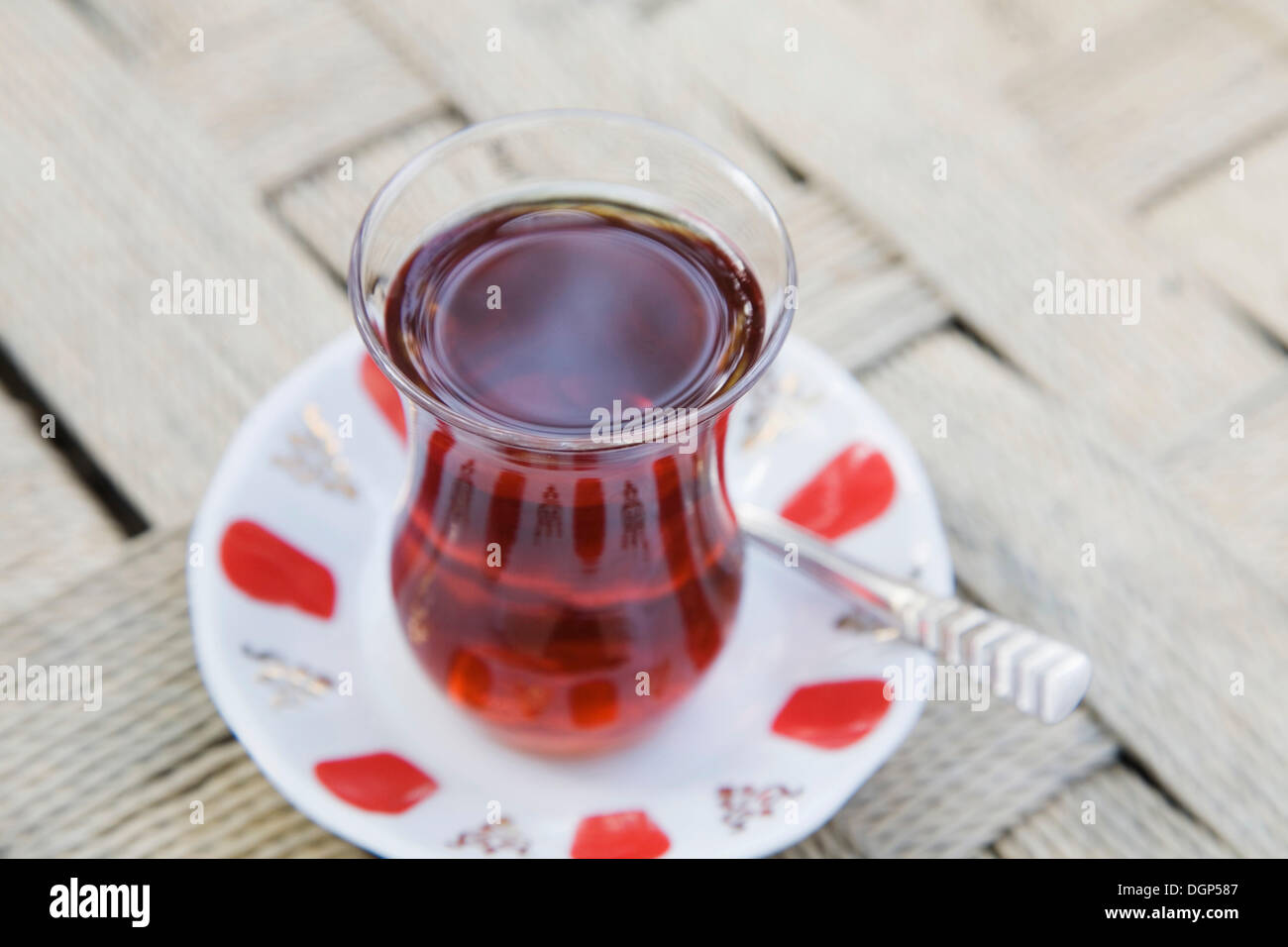 A glass of tea in the traditional Turkish manner, Istanbul, Turkey - Stock Image