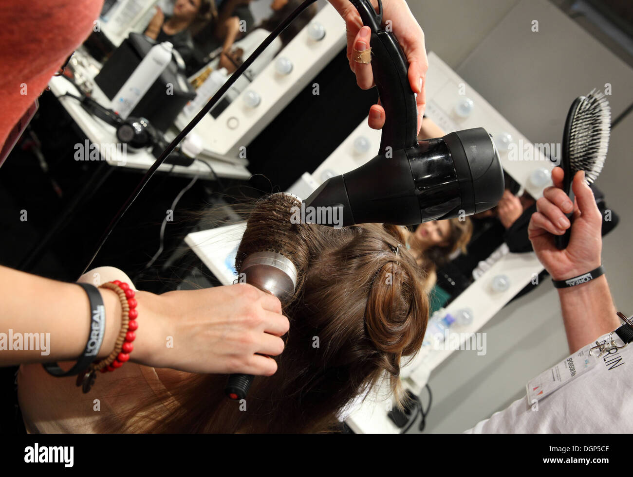 Berlin, Germany, hair styling of the models at Fashion Week - Stock Image