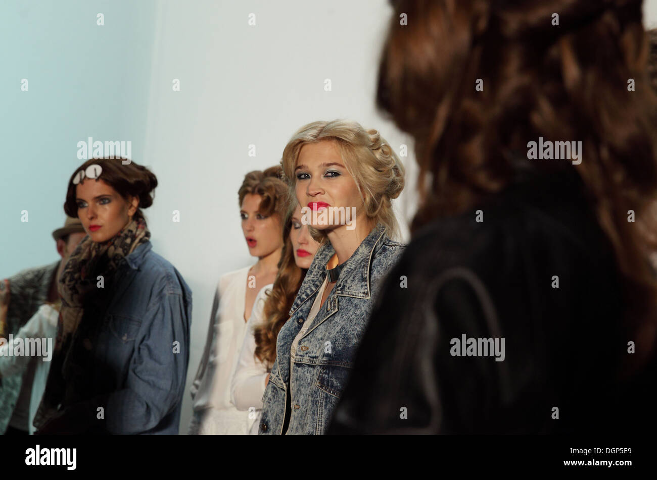 Berlin, Germany, Models backstage at Fashion Week Stock Photo