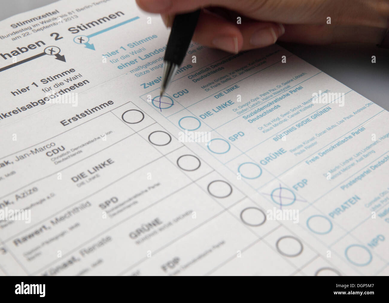Berlin, Germany, ballots for the parliamentary elections in 2013 - Stock Image