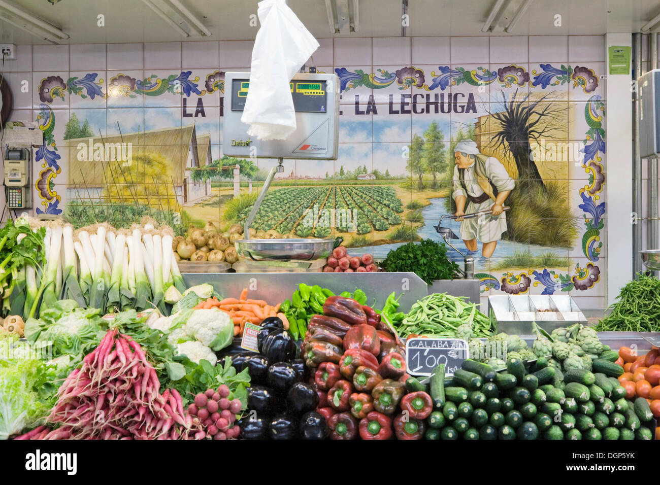 Fresh vegetables, Mercado Central market, Valencia, Comunidad Valencia, Spain, Europe Stock Photo