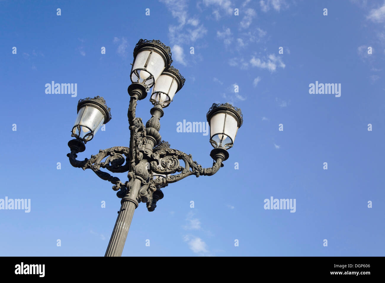 Street-lamp on Plaza de la Virgen, Valencia, Comunidad Valenciana, Spain, Europe Stock Photo