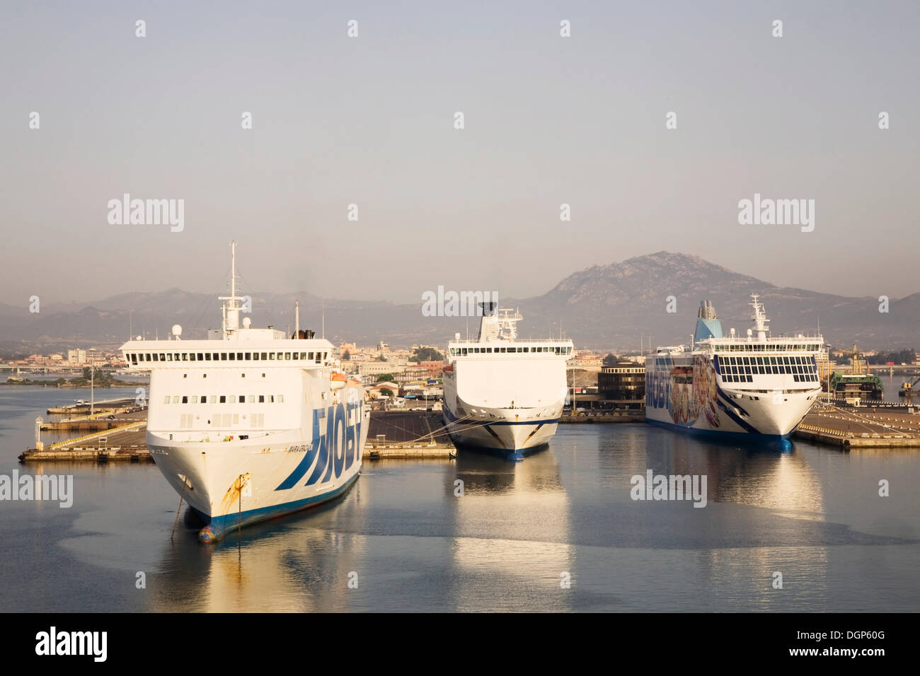 Car ferries in the port of Olbia, Sardinia, Italy, Europe - Stock Image