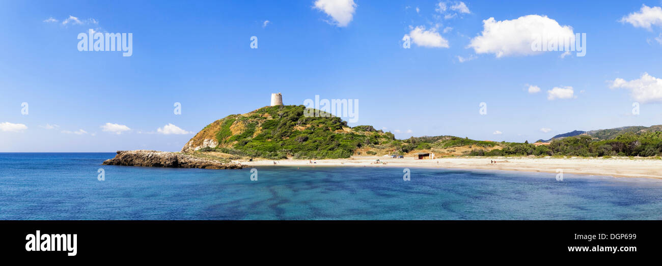 Sandy bay of Torre di Chia with the Saracen Tower with the same name on the Costa del Sud, Sulcis Province, Sardinia, Italy - Stock Image