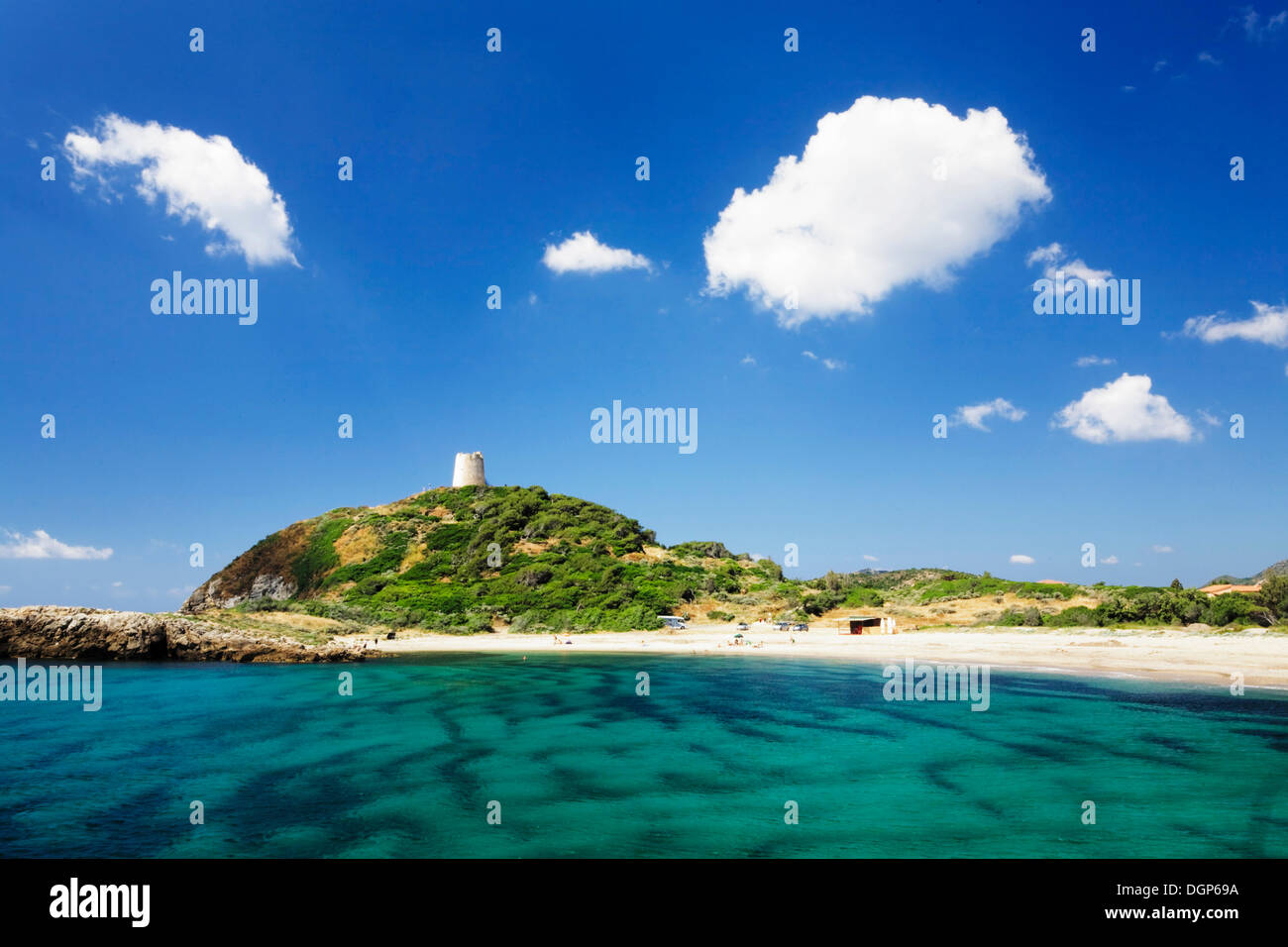 Saracen Tower, Torre di Chia, in a bay with the same name on the Costa del Sud, Sulcis Province, Sardinia, Italy, Europe - Stock Image