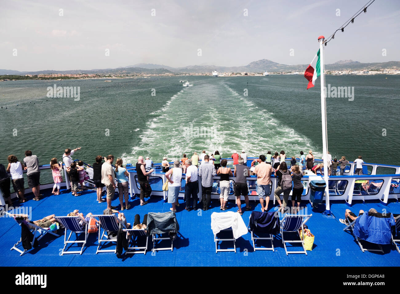 Travellers on the car ferry from Olbia to Livorno, Gallura Province, Sardinia, Italy, Europe Stock Photo