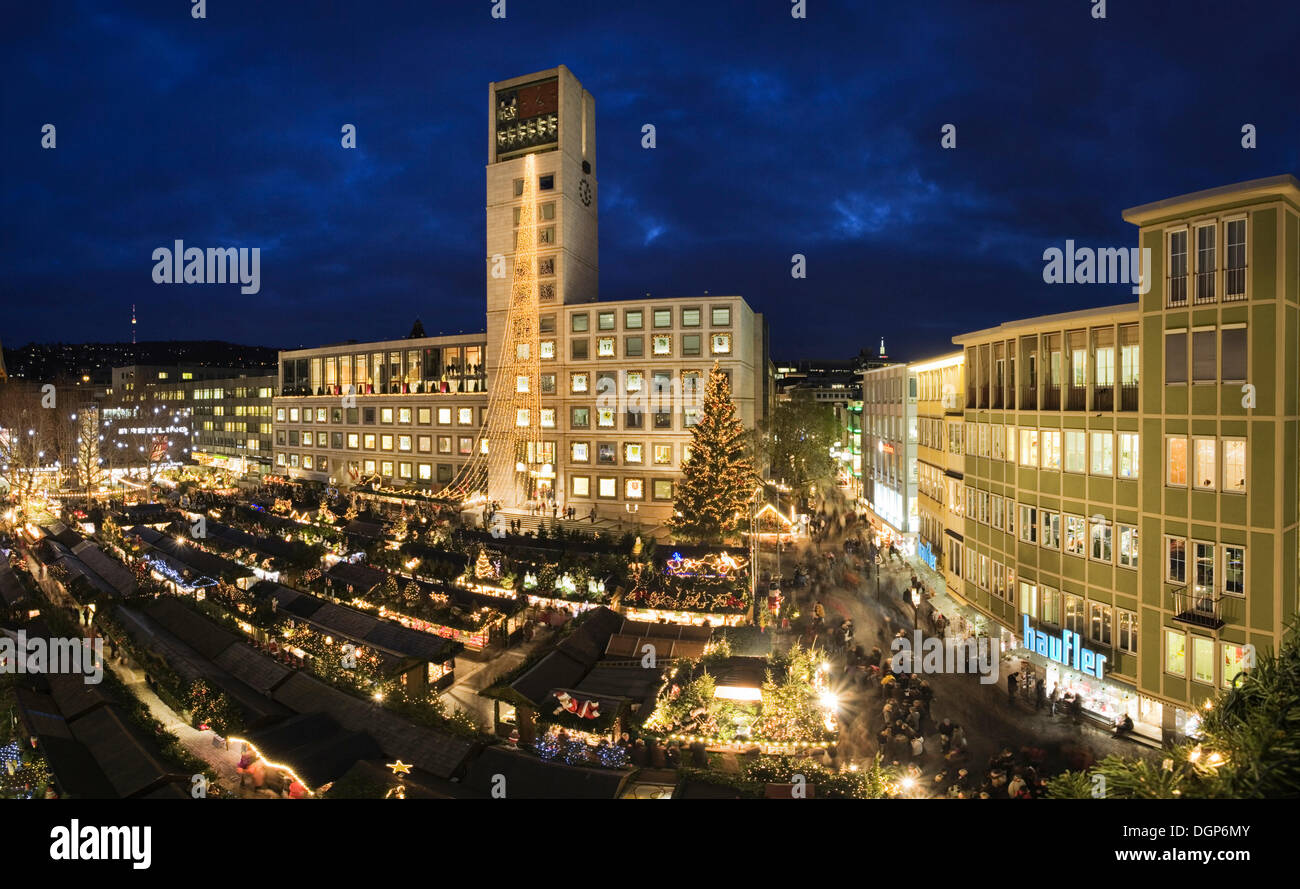 Christmas markets at the market place with City Hall, Stuttgart, Baden-Wuerttemberg - Stock Image