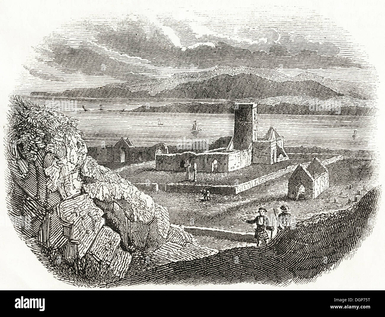 Anglo Saxon Britain. Ruins of Monastery on the Isle of Iona founded by St Columba in 563. Victorian woodcut circa 1845. - Stock Image