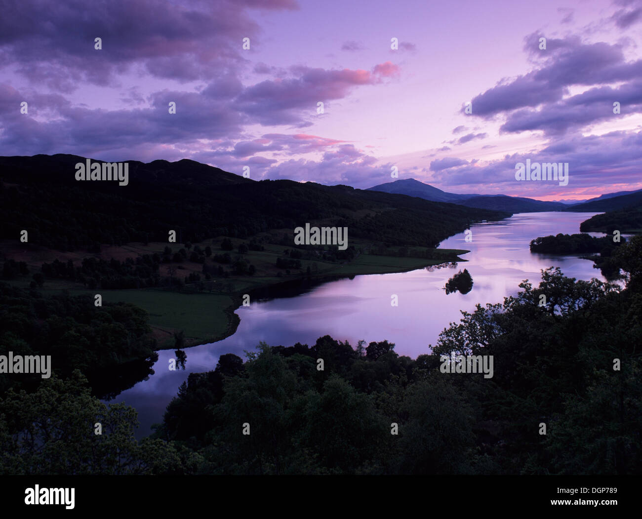 View from Queen's View on Loch Tummel, Tayside Region, Scotland, United Kingdom, Europe - Stock Image