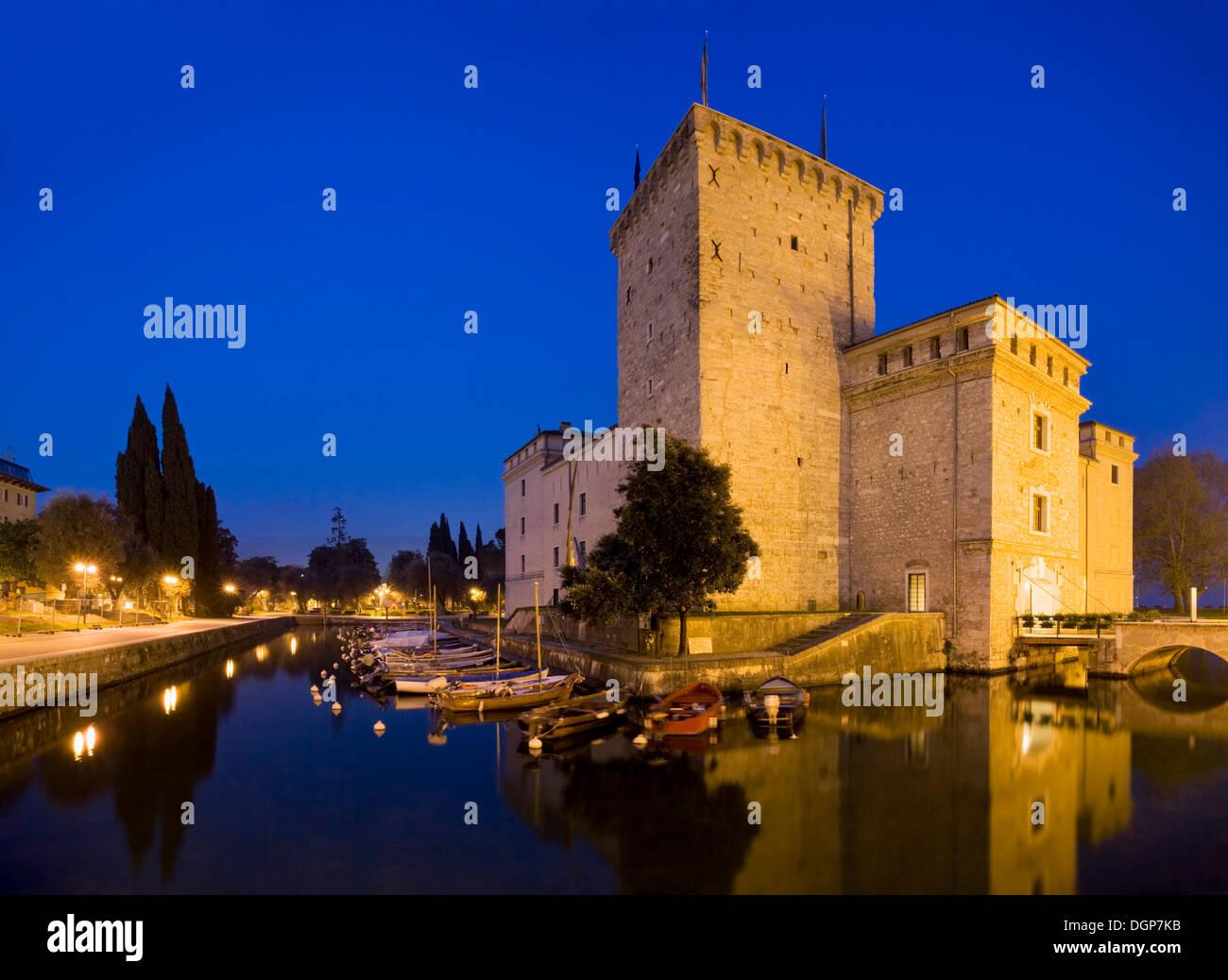 Medieval Rocca fortress with moat in Riva del Garda, Lake Garda, Trentino, Alto Adige, Italy, Europe - Stock Image