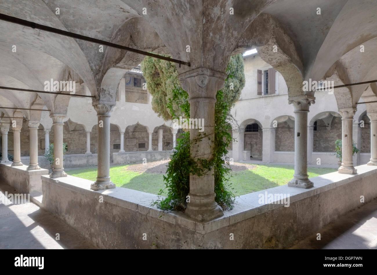 Arcade in the monastery of San Francesco in Gargnano, Lake Garda, Lombardy, Italy, Europe - Stock Image