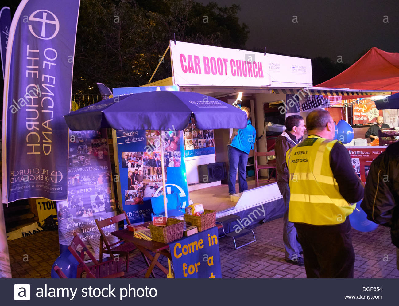 Spiritual and Practical Support at Nottingham's Historic Goose Fair More than 700 years of tradition The Forest - Stock Image