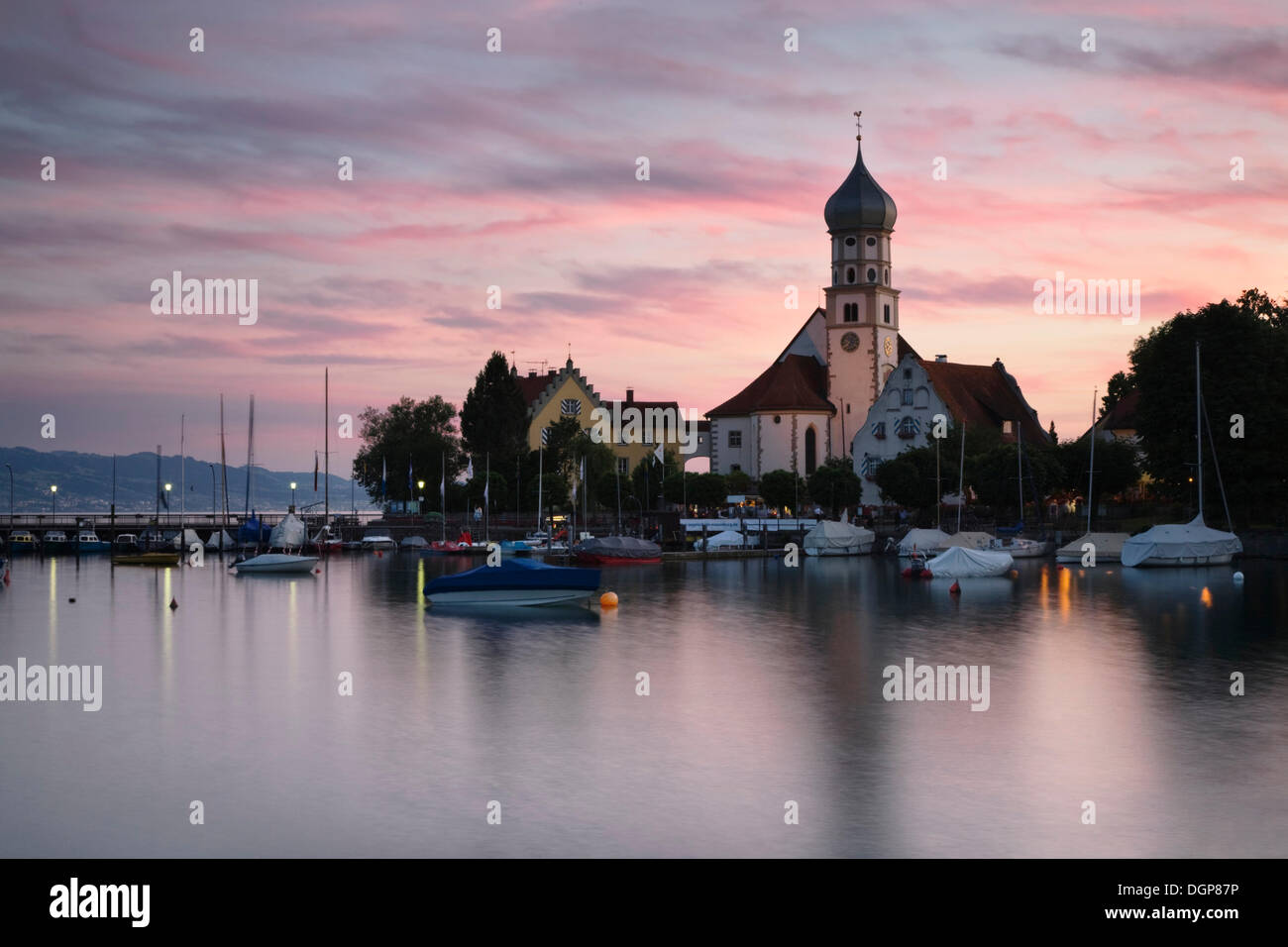 Church of St. George at sunset, Wasserburg, Lake Constance, Bavaria - Stock Image