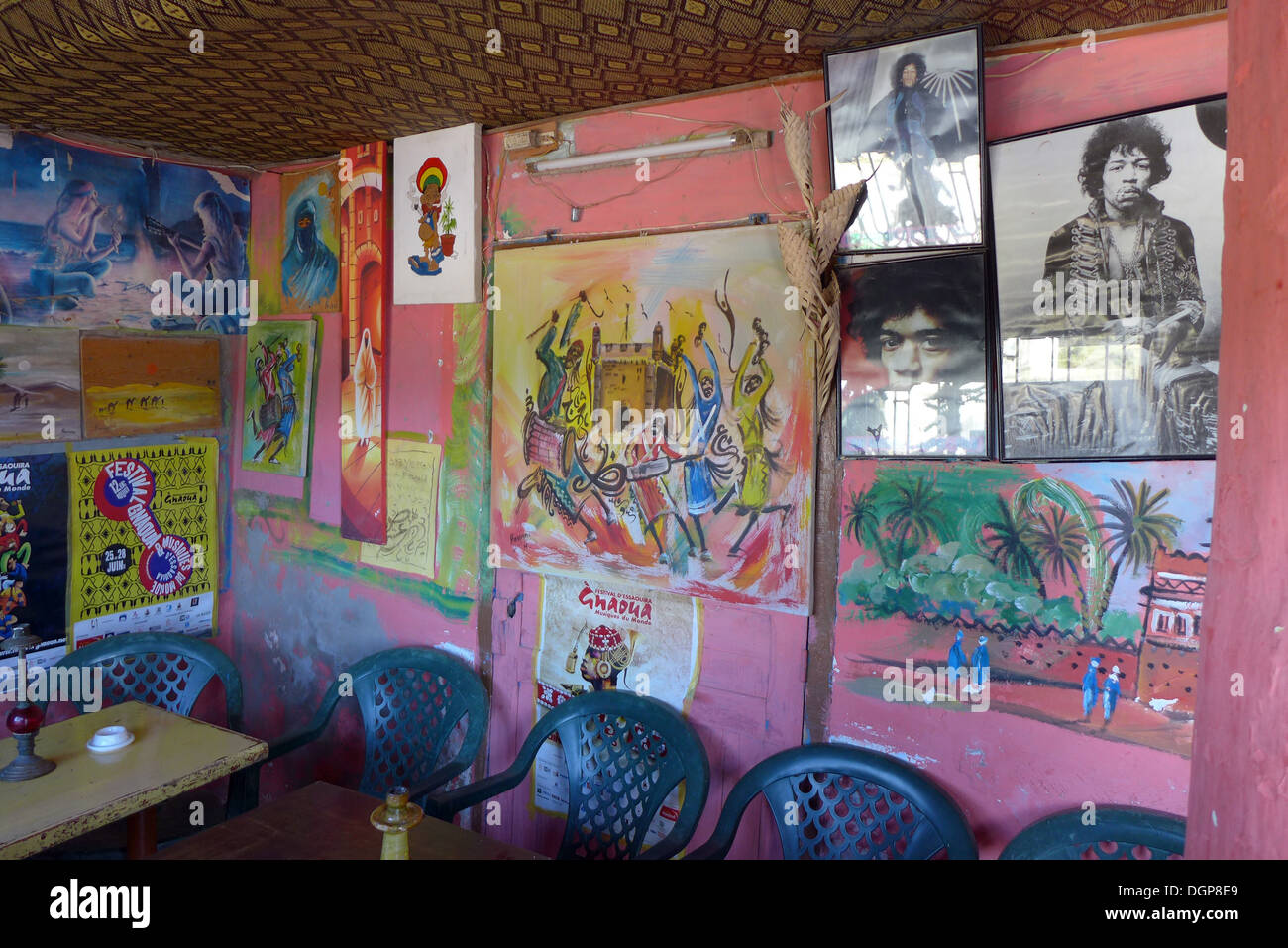 Morocco - Essaouira Cafe frequented by Jimi Hendrix in the 1960s, at Diabat. Stock Photo