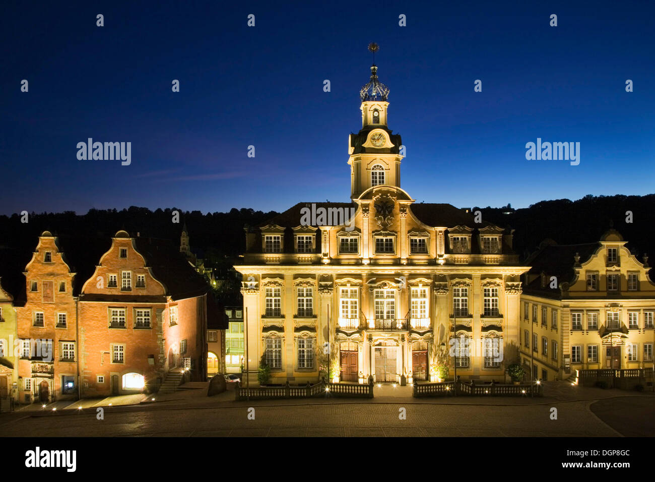 Town hall on the marketplace in Schwaebisch Hall, Hohenlohe, Baden-Wuerttemberg - Stock Image