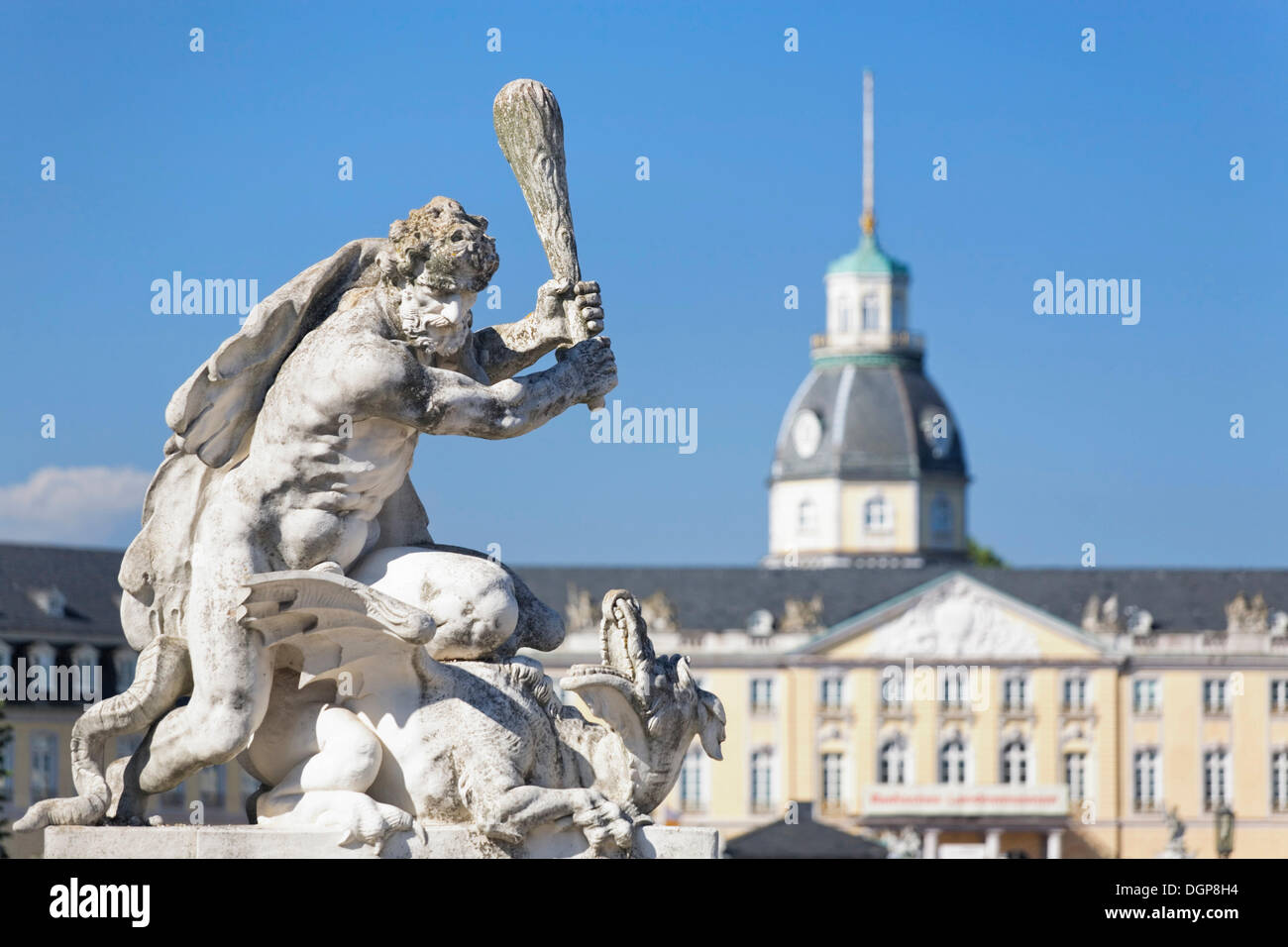Sculpture in front of Schloss Karlsruhe castle, sculpture focused, Baden-Wuerttemberg - Stock Image