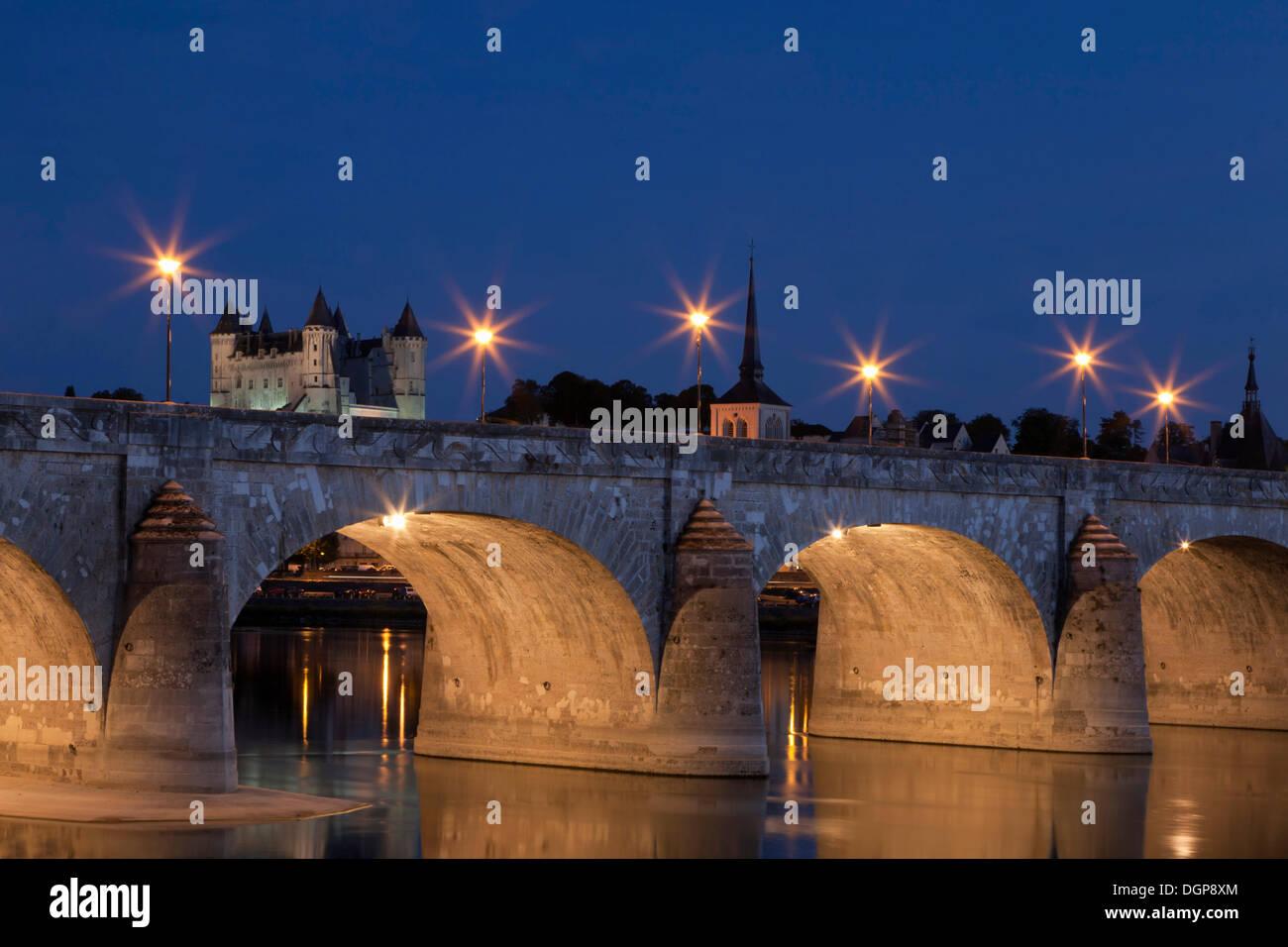 Pont Cessare with Church of St. Pierre and castle, Saumur, Department Maine-et-Loire, Region Pays de la Loire, France, Europe - Stock Image