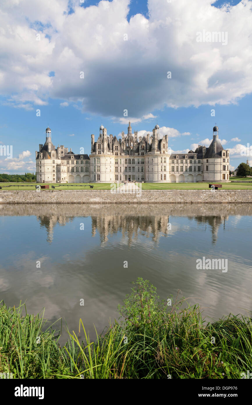 Château de Chambord, north facade with a moat, department of Loire et Cher, Centre region, France, Europe - Stock Image