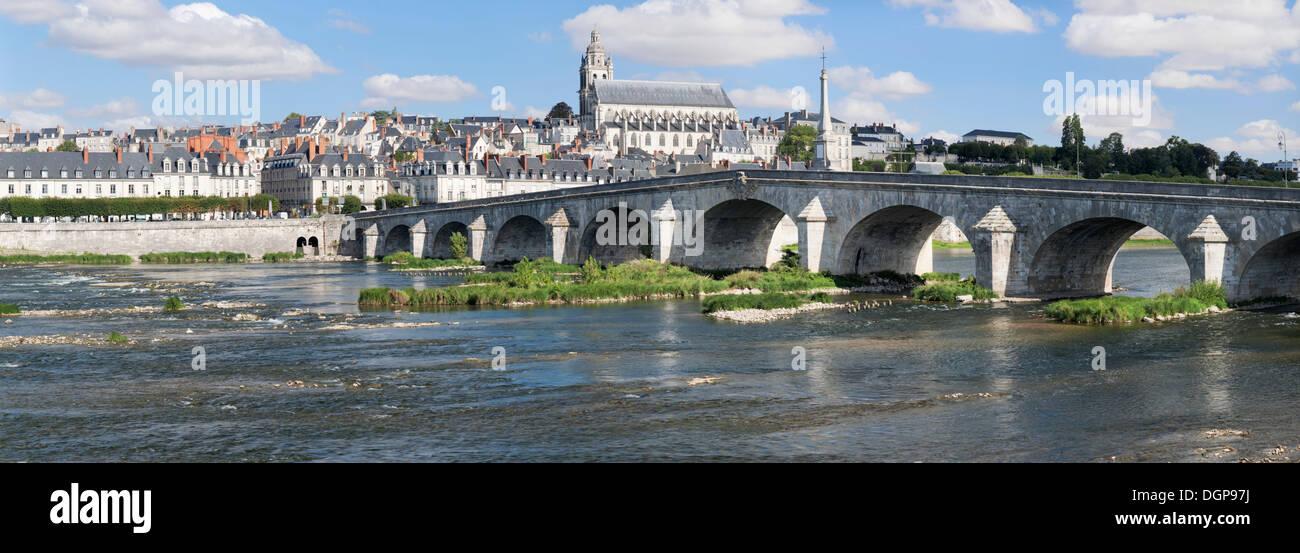 Cityscape of Blois with the Loire River bridge, Pont Jacques Gabriel, and Blois Cathedral, department of Loire et Cher, France - Stock Image