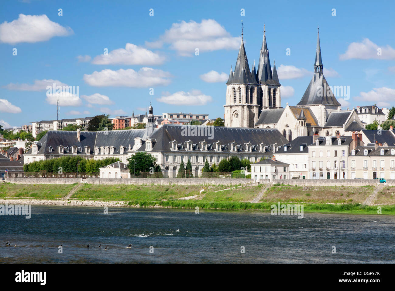 Cityscape of Blois with the Church of Saint Nicolas, department of Loire et Cher, France, Europe - Stock Image