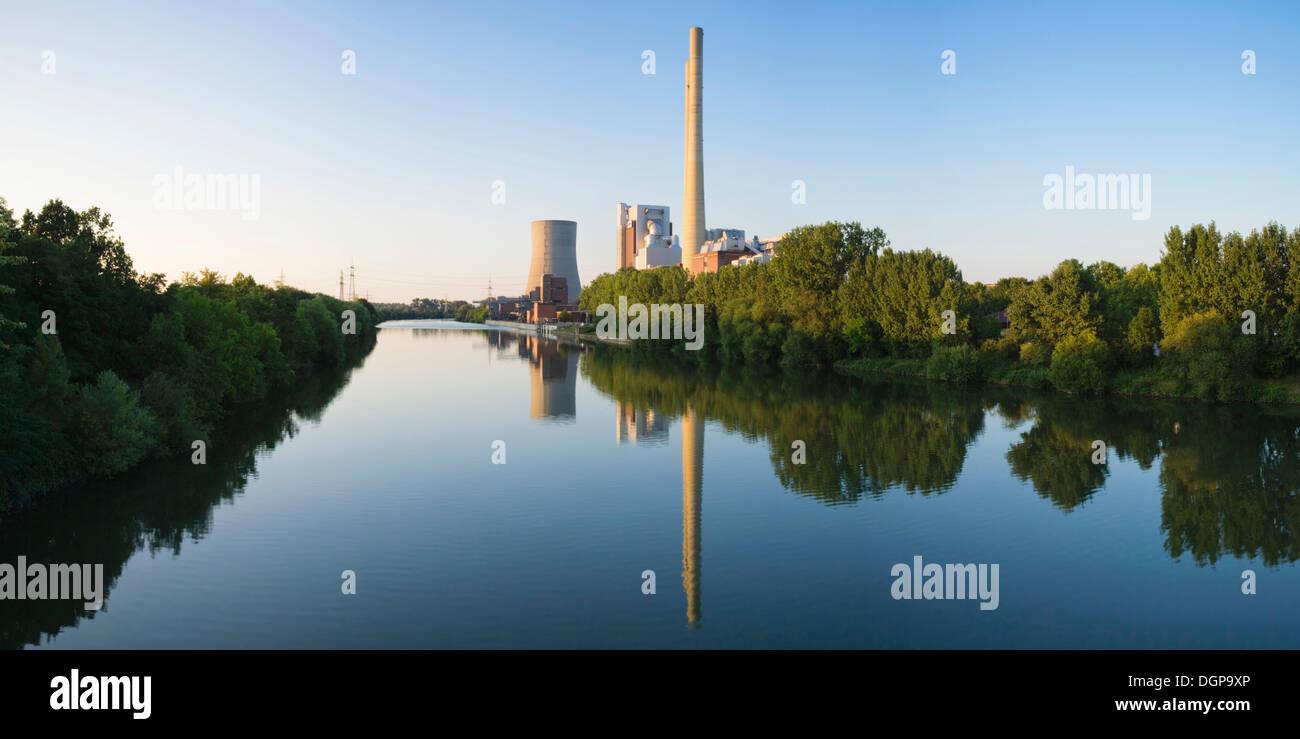 Power plant on the Neckar river Heilbronn, Baden-Wuerttemberg - Stock Image
