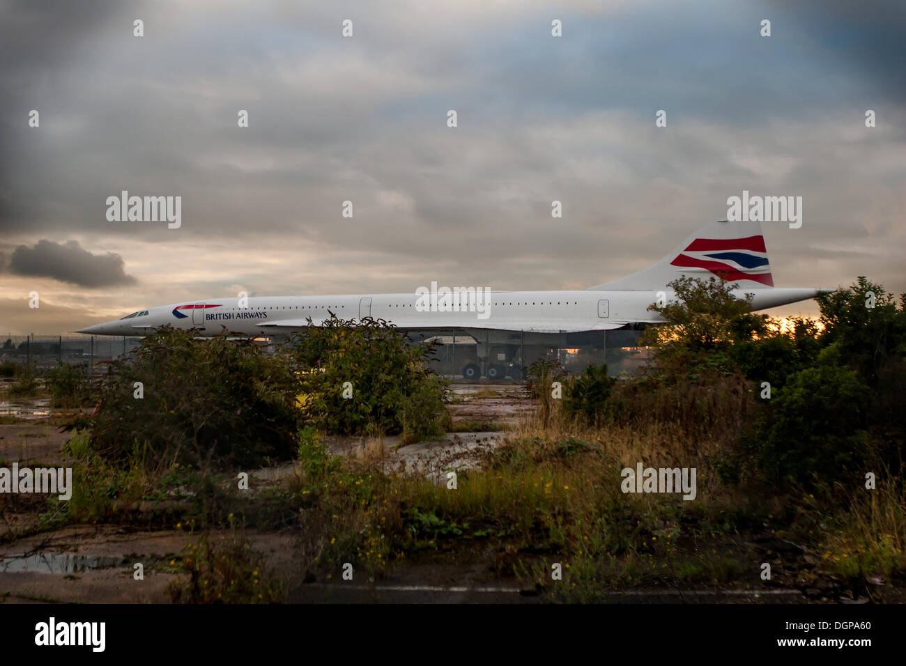 Heathrow, UK. 24th Oct, 2013. Ten years ago today, Concorde made its last commercial flight. Concorde G-BOAB sits at the end of Heathrow southern runway (09R/27L) Credit:  martyn wheatley/Alamy Live News - Stock Image
