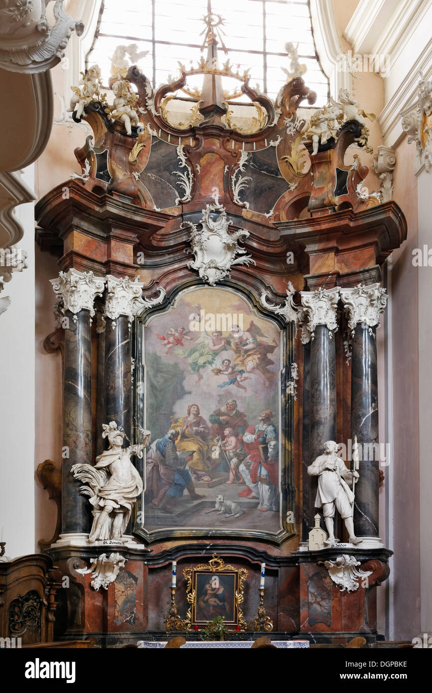 Side altar with a picture by Bartolomeo Altomonte, collegiate church, Engelszell Abbey, Engelhartszell an der Donau Stock Photo