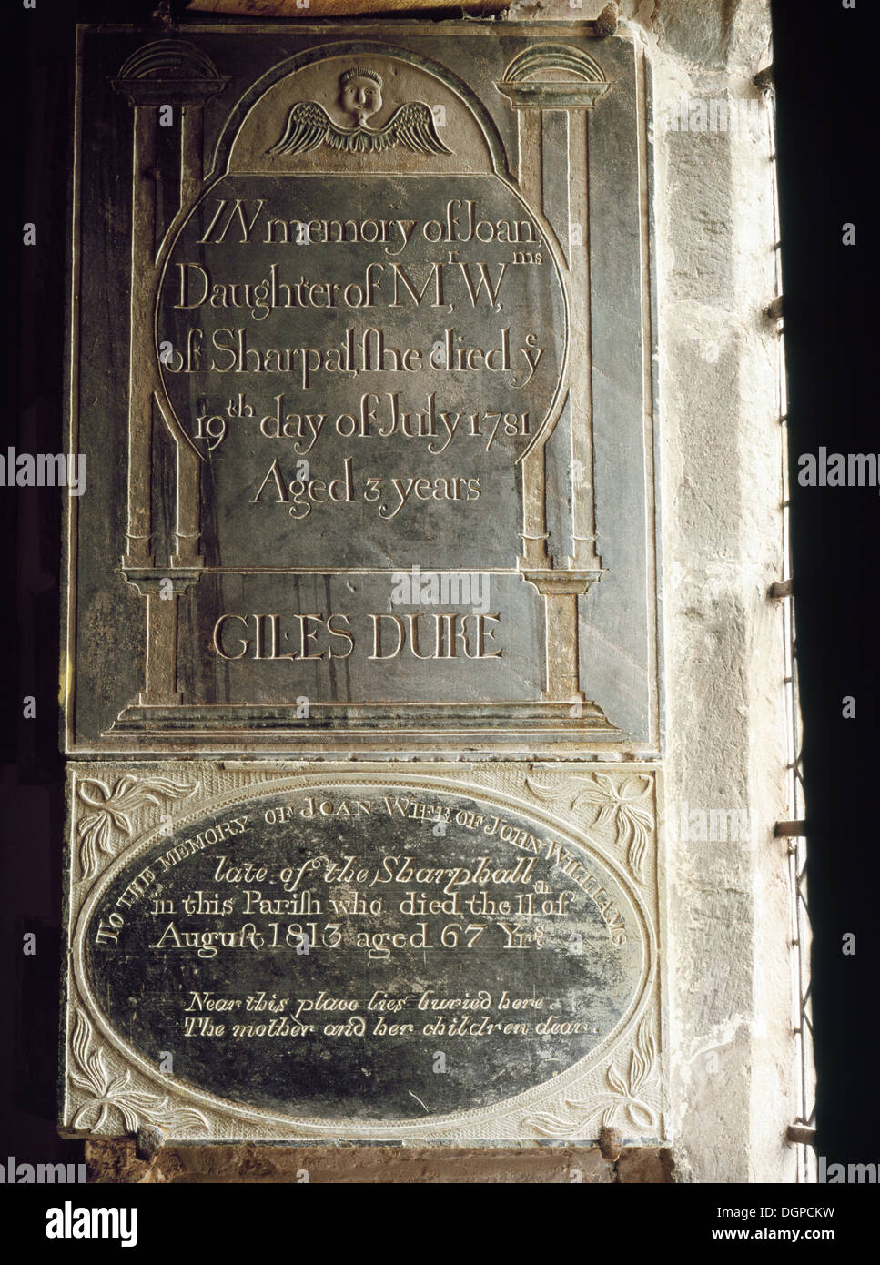 Georgian slate memorial tablets in the nave of St Martin's Church, Cwmyoy, Monmouthshire: Joan daughter of John - Stock Image