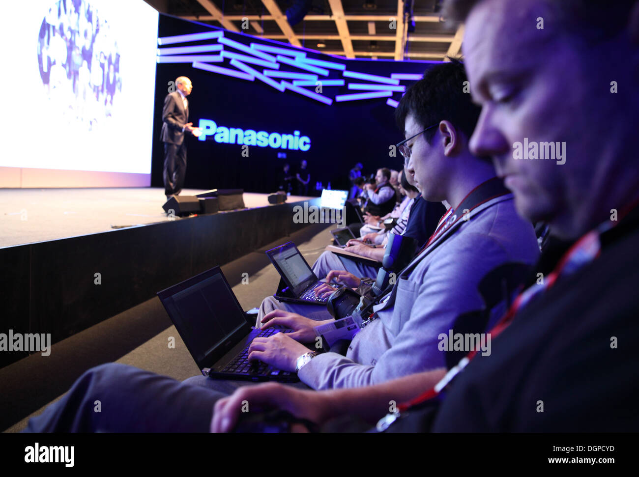 Berlin, Germany, blogger during the Panasonic press conference at IFA 2013 - Stock Image