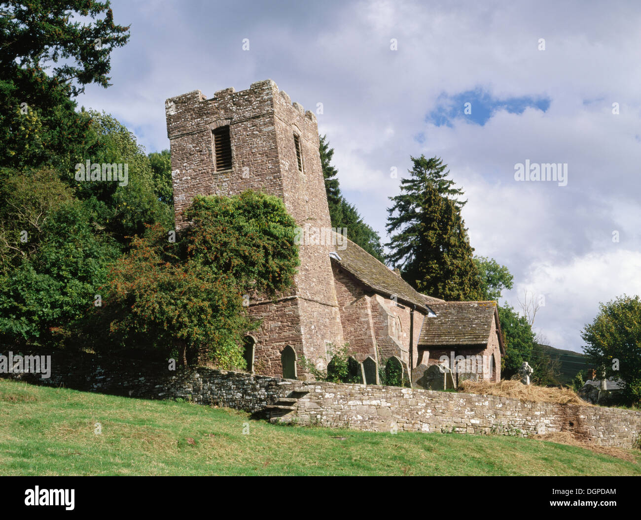 Tower and chancel of Cwmyoy Medieval church, Monmouthshire, have been twisted in opposite directions by slippage - Stock Image