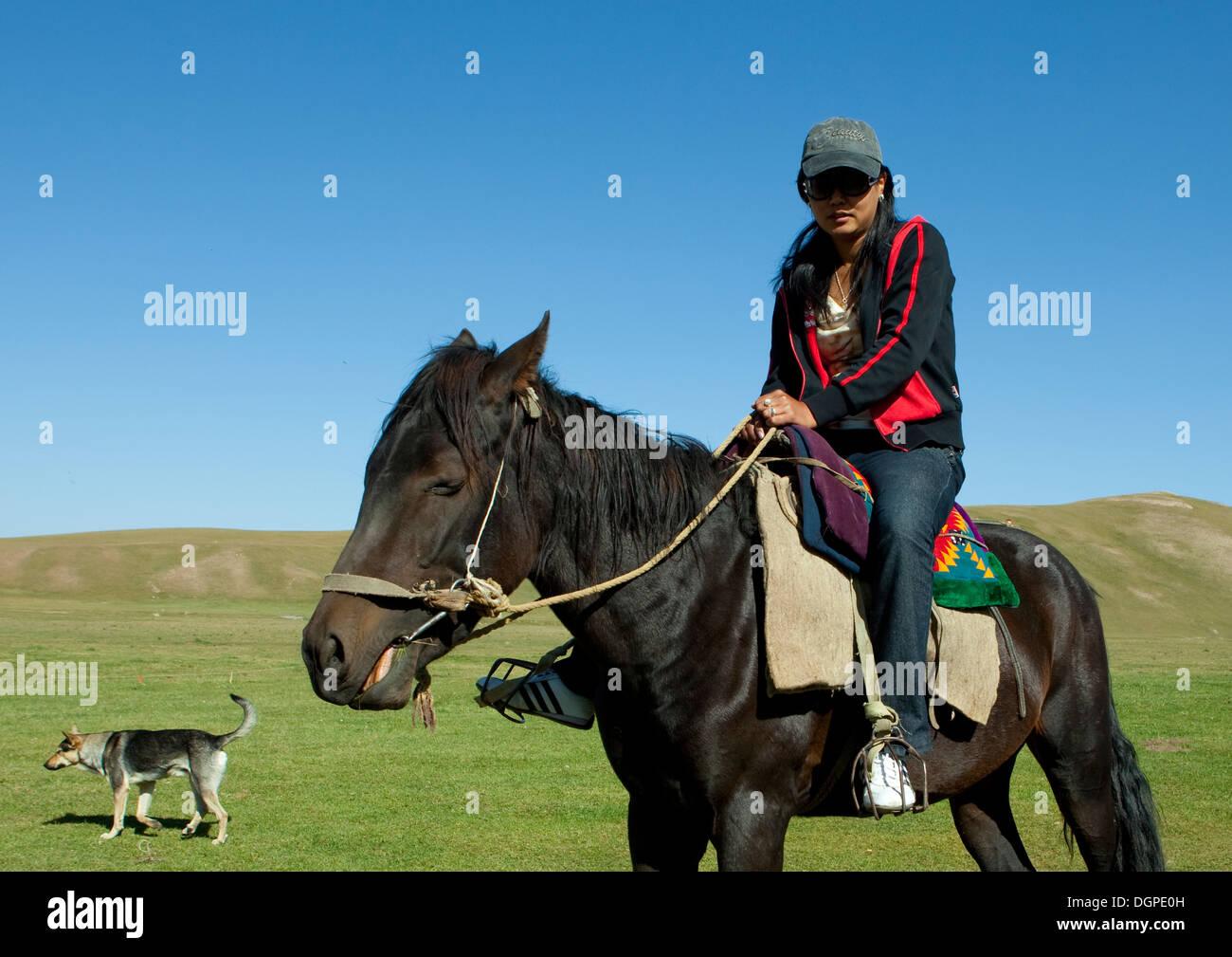 Woman With Sunglasses Riding A Horse, Jaman Echki Jailoo