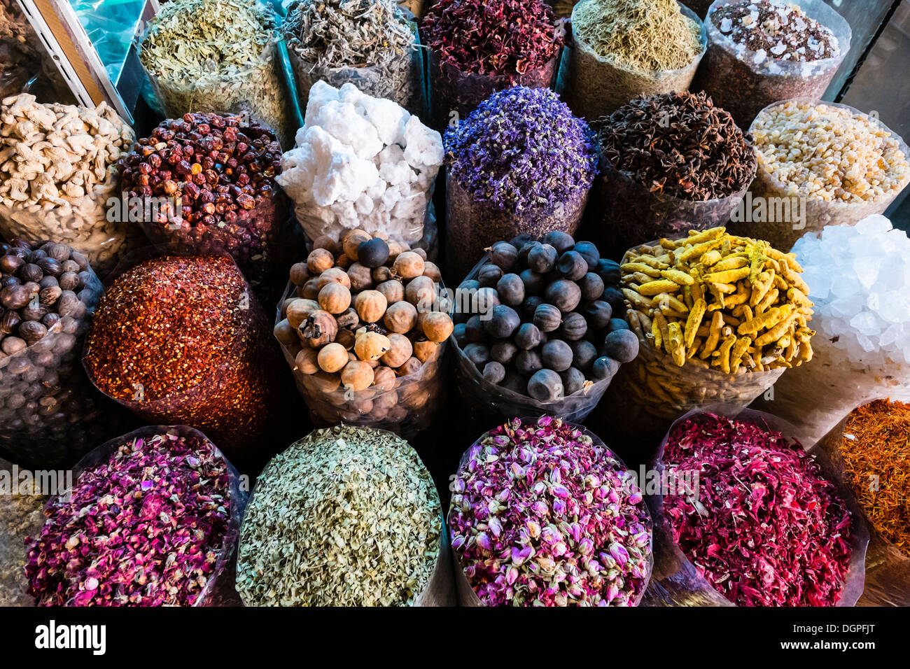 Spices and herbs for sale at Spice Souk in Deira Dubai United Arab Emirates Stock Photo
