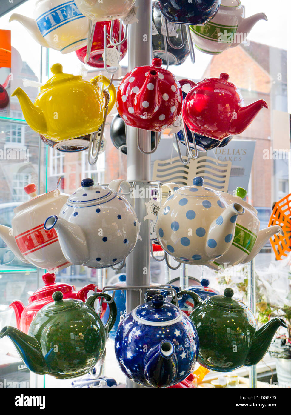 A display of teapots in a shop, Newport, Shropshire, England - Stock Image