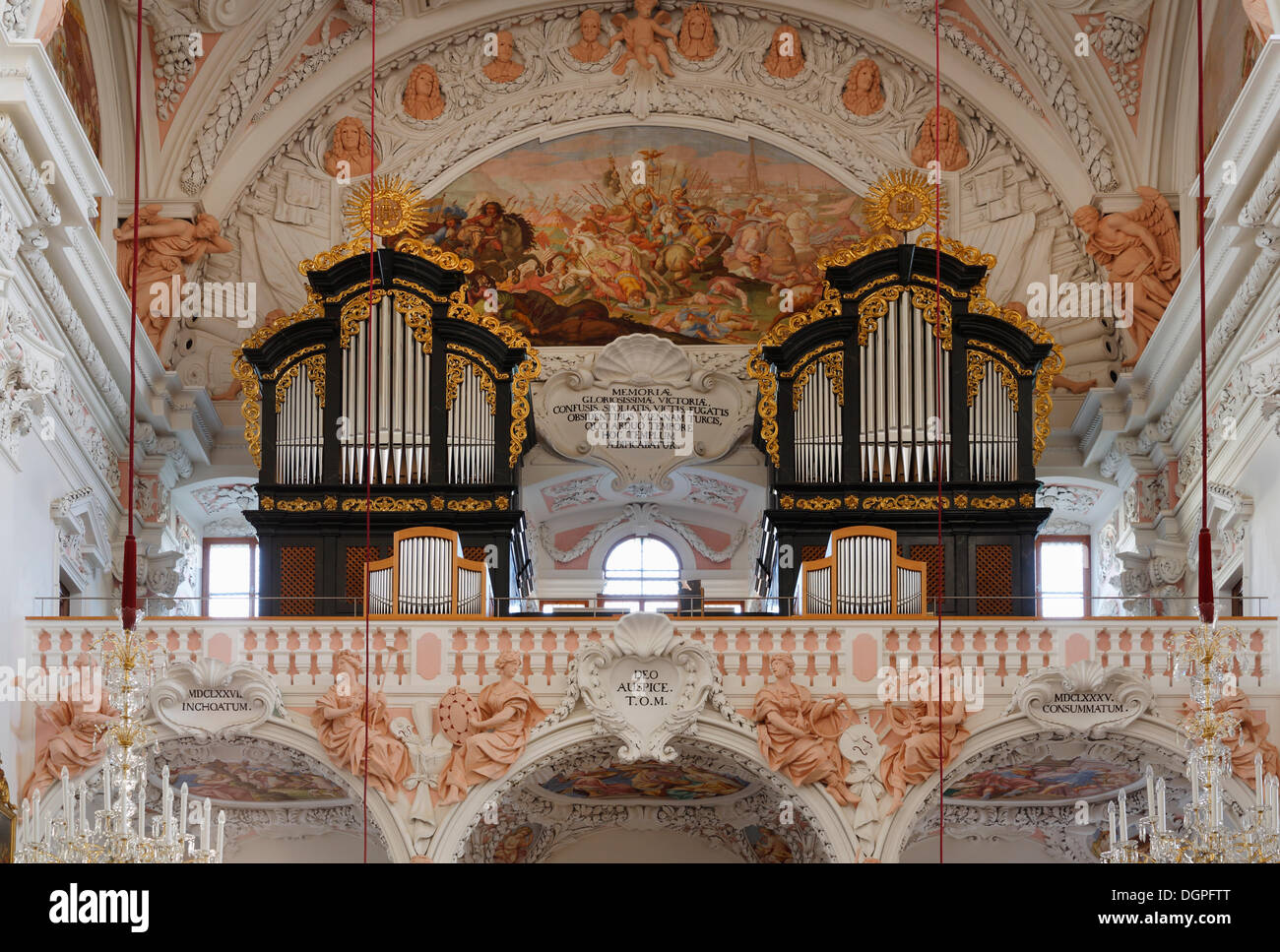 Organs, former abbey church of Garsten Abbey near Steyr, Traunviertel region, Upper Austria, Austria, Europe - Stock Image