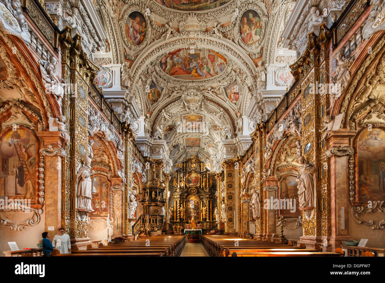 Abbey church, Cistercian Abbey of Schlierbach, Traunviertel region, Upper Austria, Austria, Europe Stock Photo