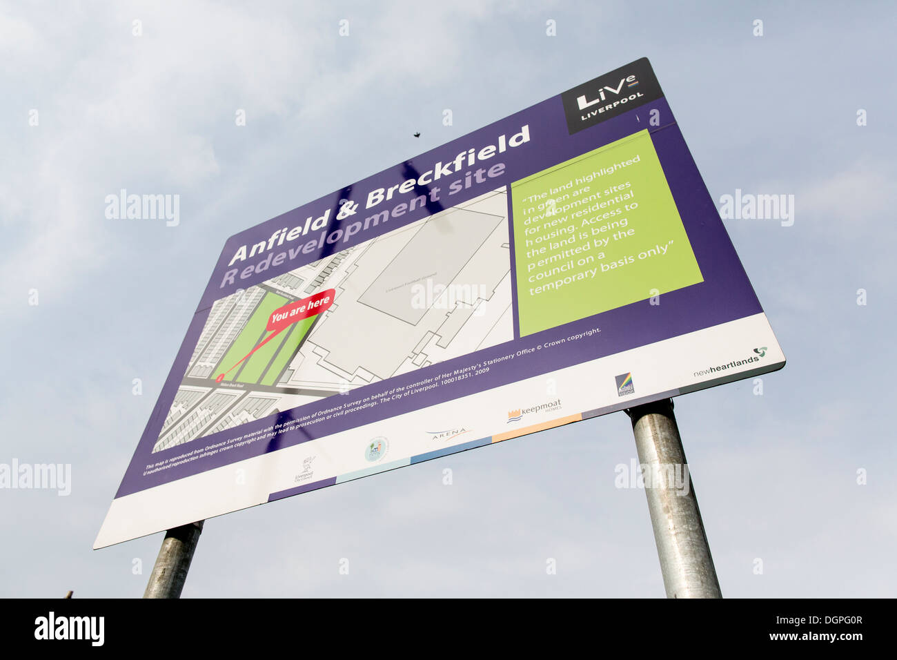 Sign for Anfield & Breckfield redevelopment site,. Anfield, Liverpool, UK - Stock Image